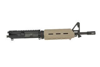 The Spikes Tactical 556 LE Complete AR15 upper receiver comes with an MOE handguard in flat dark earth and 11.5 inch barrel