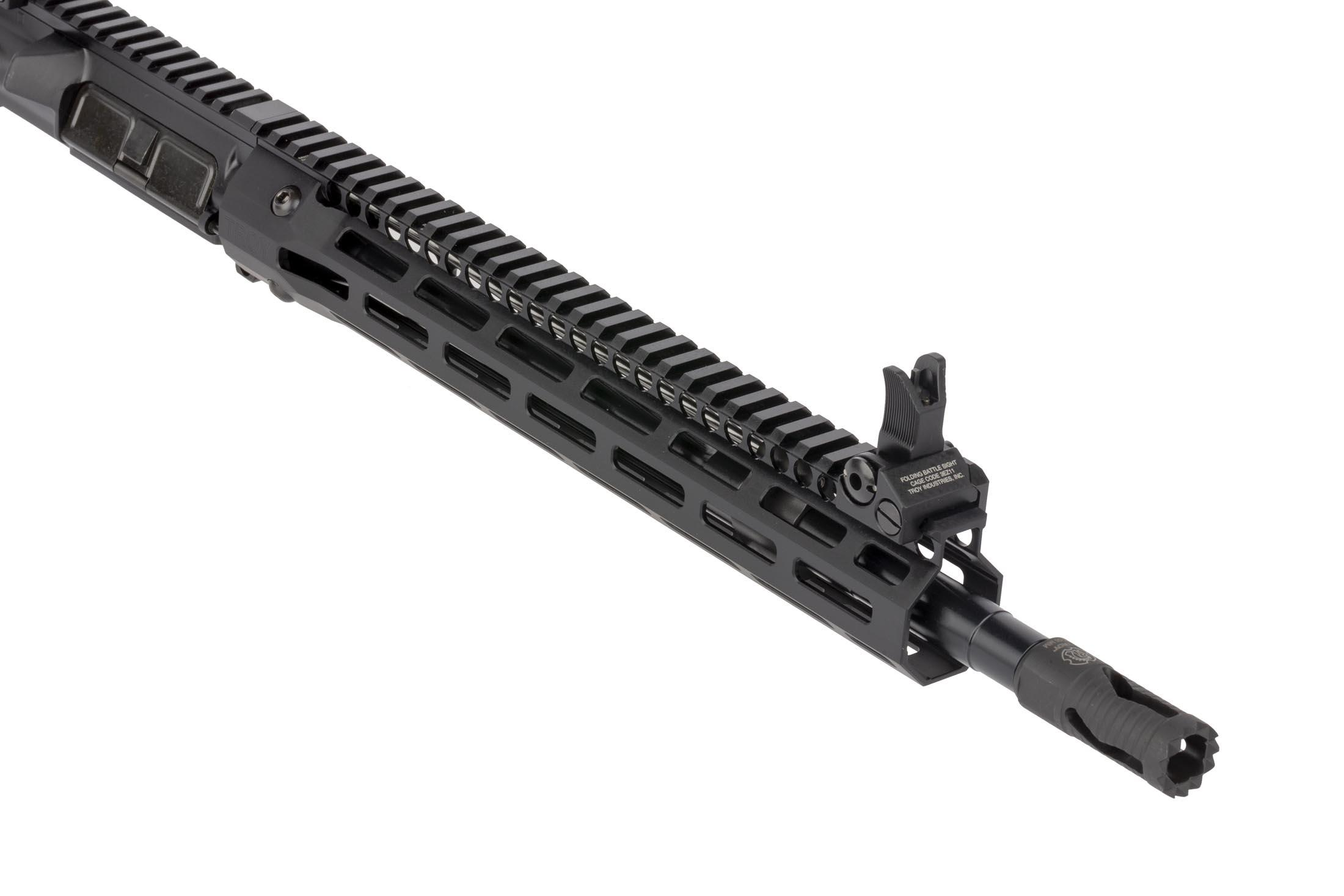 Troy Industries 14.5in complete SOCC upper receiver for the AR15 features a pinned and welded Troy Medievel muzzle brake