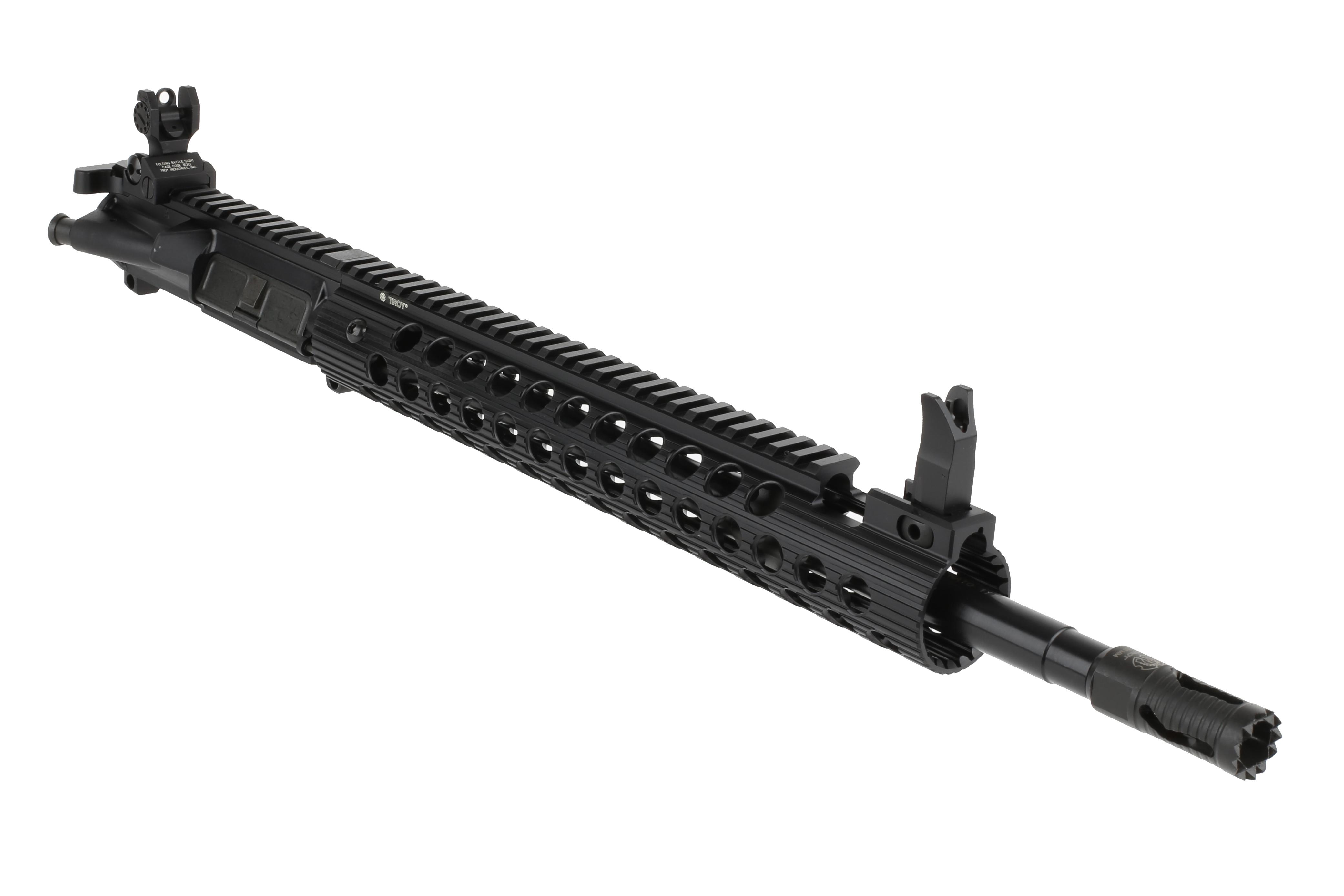 "Troy Industries 16 5.56 Complete Upper with 13"" Alpha Rail and Flip Up BattleSights - Black"