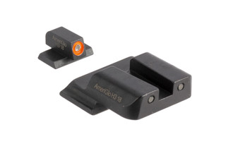 AmeriGlo Spartan Operator night sights for Smith & Wesson M&P have hi-vis orange outlined front sight with green rear lamps for fast acquisition.