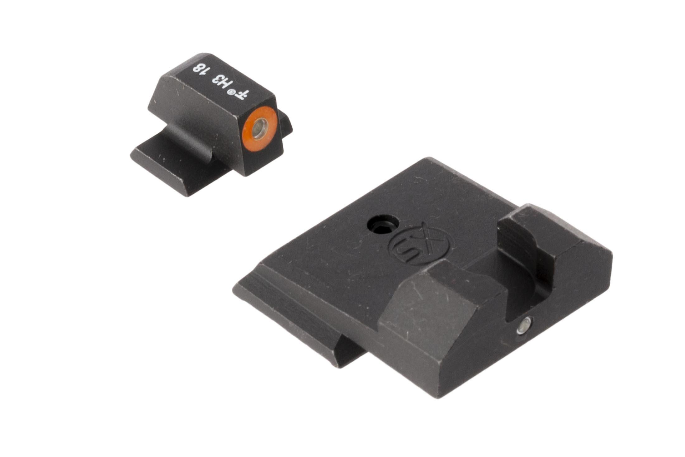 XS Sights F8 night sights for Smith & Wesson M&P Shield handguns feature a large, high vis orange outline front sight for rapid acquisition