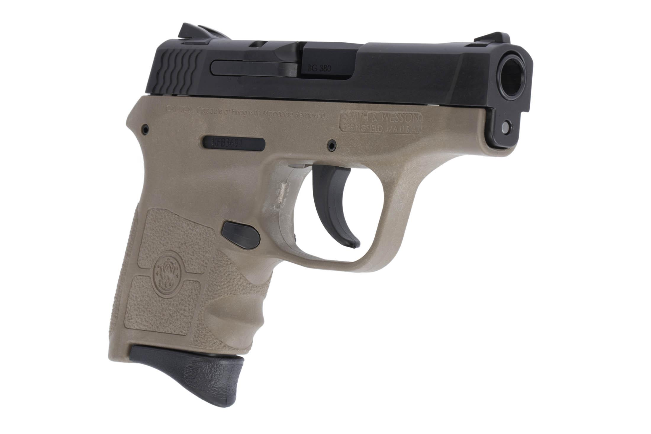 The Smith & Wesson M&P Bodyguard is a .380 ACP Sub Compact 6 round handgun with a 2.75 inch Barrel and flat dark earth frame