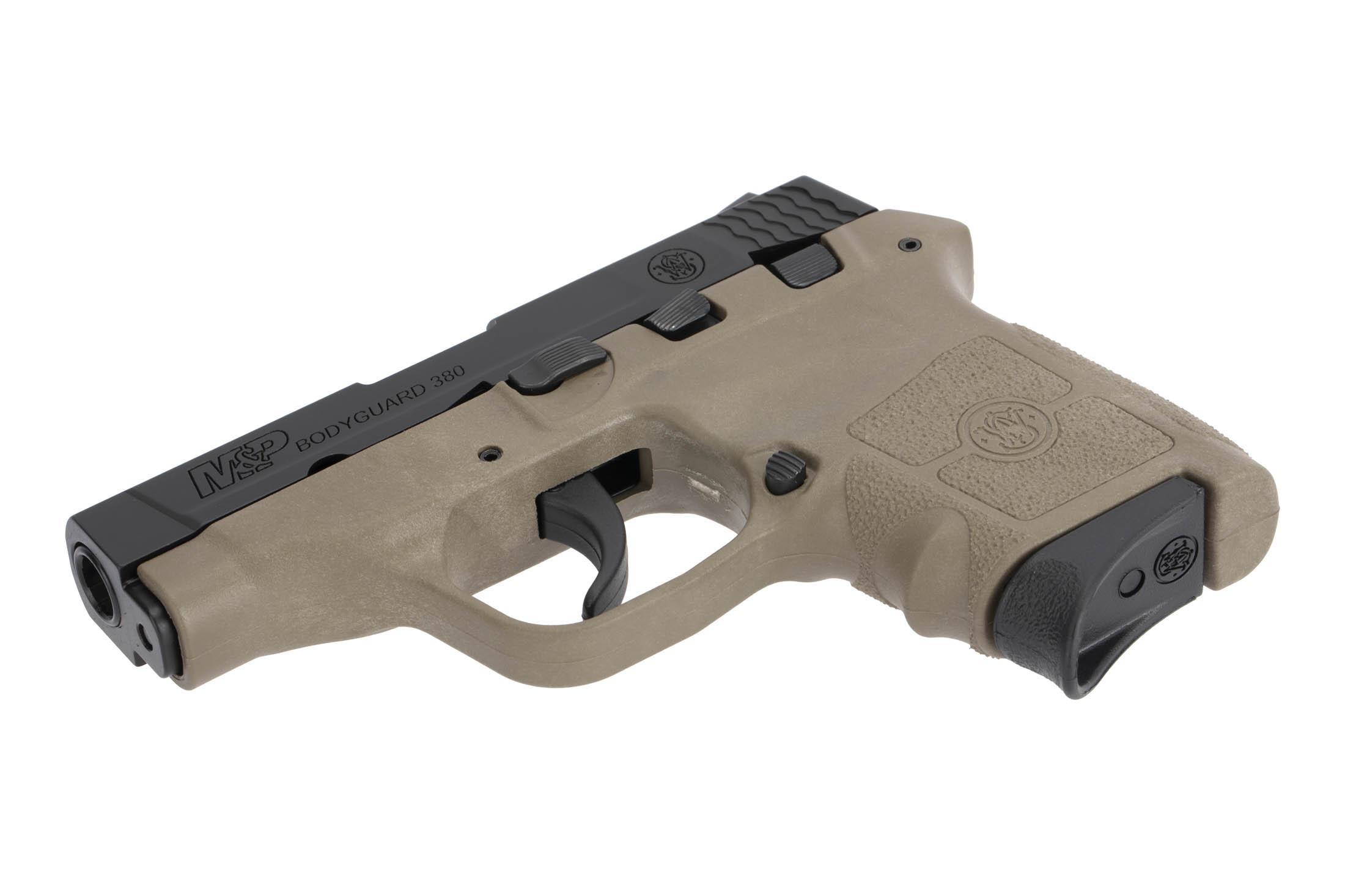 The Smith & Wesson M&P Bodyguard is a .380 ACP Sub Compact 6 round handgun with rear cocking serrations