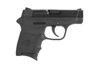 Smith and Wesson Bodyguard 380 ACP handgun features a black polymer frame