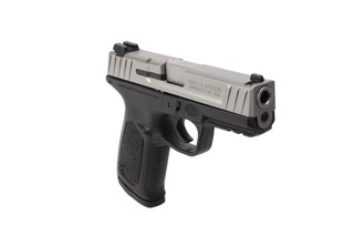 The Smith and Wesson SD9VE 9mm pistol features a stainless steel slide with a 4 inch barrel