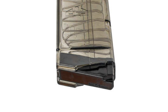 ETS extended 9mm magazine for the S&W Shield holds 12 rounds and has crack resistant feed lips.