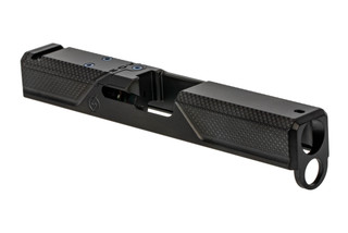 The Agency Arms S2 Syndicate Gen 4 Glock 19 Stripped Slide features a knurled grip texture on the front and rear