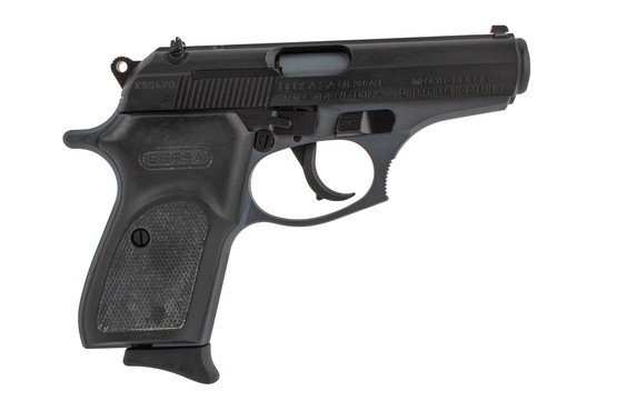 Thunder Lite 380 ACP Pistol from Bersa has a black slide and grips