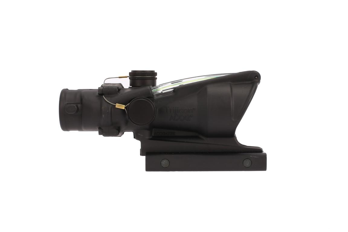 The Trijicon ACOG 4x32 scope features a dual illuminated green ACSS reticle that does not require batteries