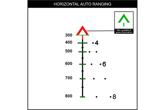 Horizontal ranging with the red ACSS Aurora reticle is accomplished via an assumed 19in wide target against the horizontal stadia on the BDC holdover system.