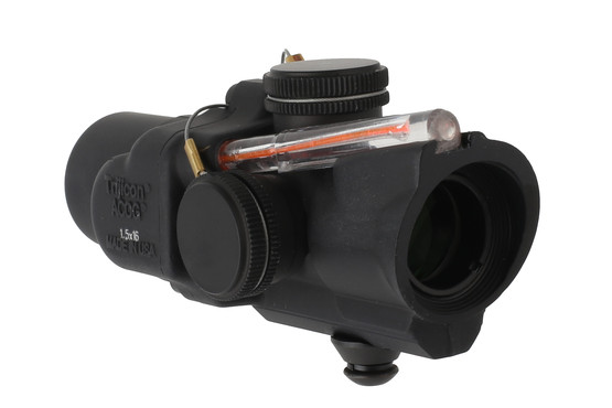 Trijicon 1.5x16S ACOG with low base and ACSS CQB-M5 reticle is illuminated by Tritium and a red light gathering fiber optic