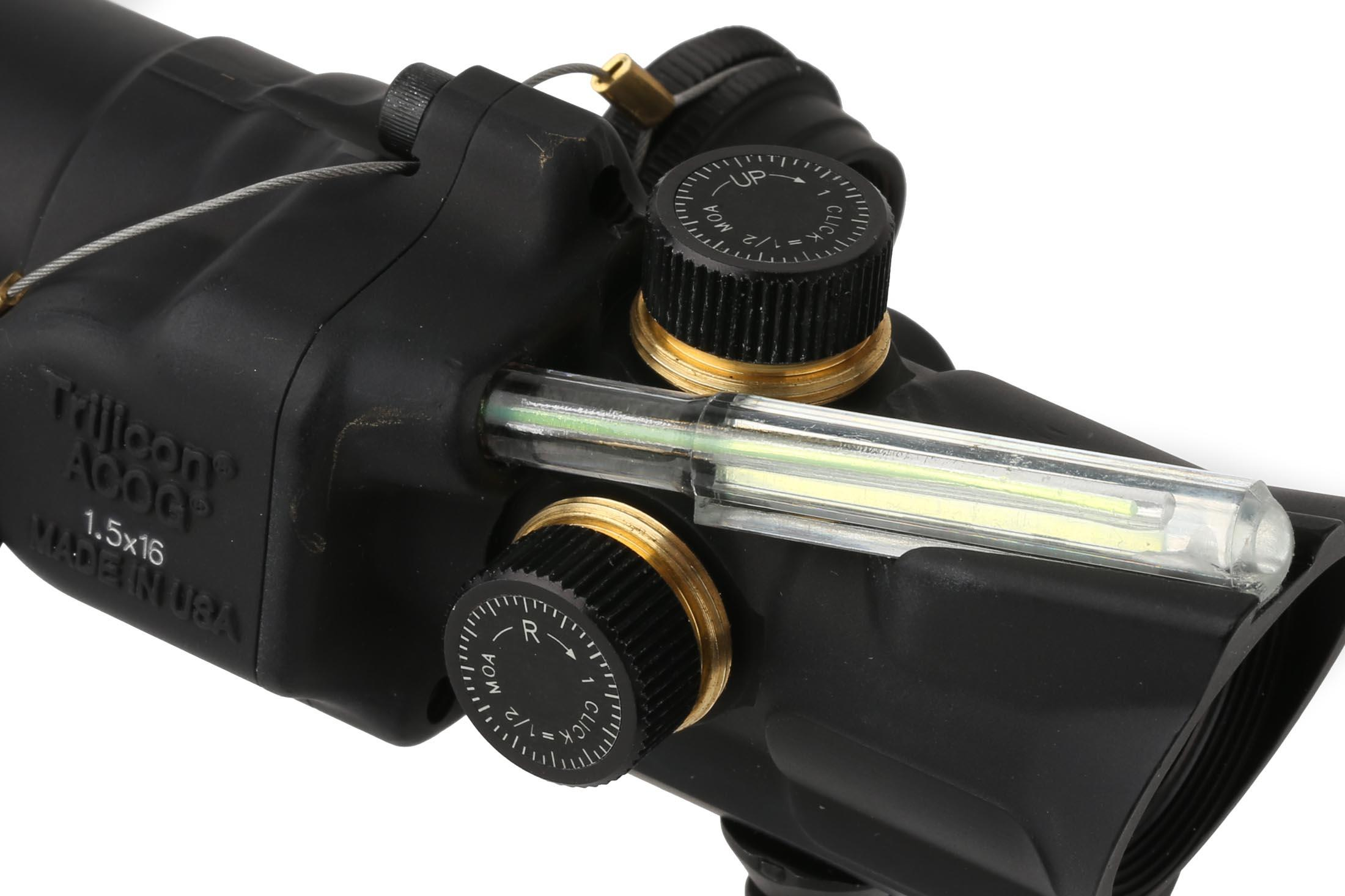 Trijicon ACOG 1.5x16S green compact scope with low base features protected finger adjustable turrets