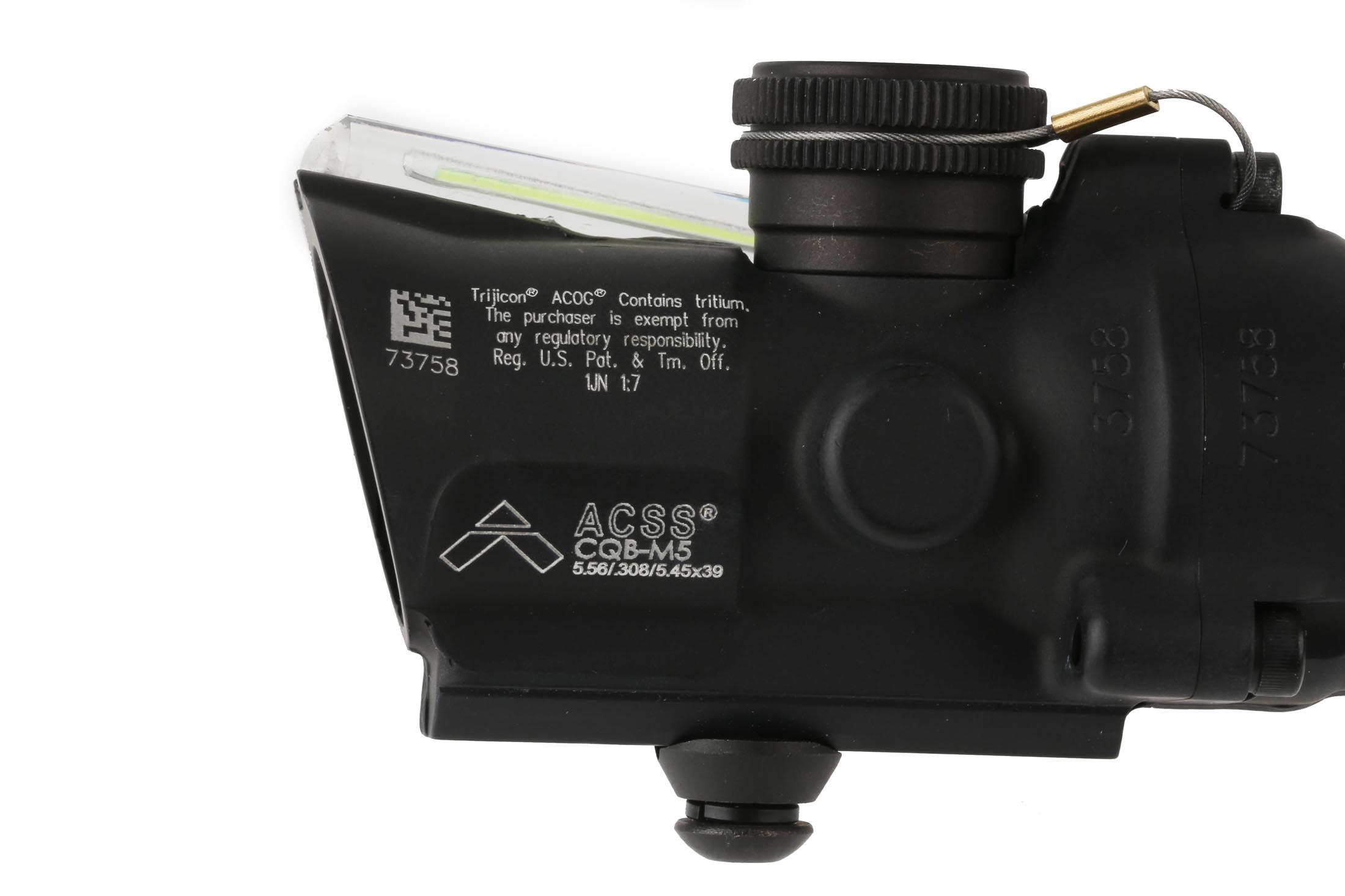 Trijicon ACOG compact 1.5X16S green compact rifle scope has a tall base and the ACSS CQB-M5 reticle has a 16mm objective
