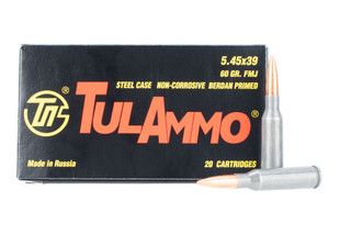 Tulammo 545x39 steel cased ammo features a 60 grain full metal jacket bullet