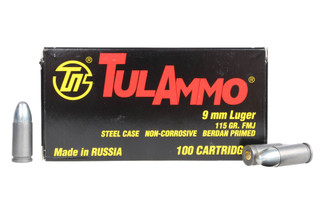 The Tula 9mm Steel Cased Ammo comes in a box of 100 rounds