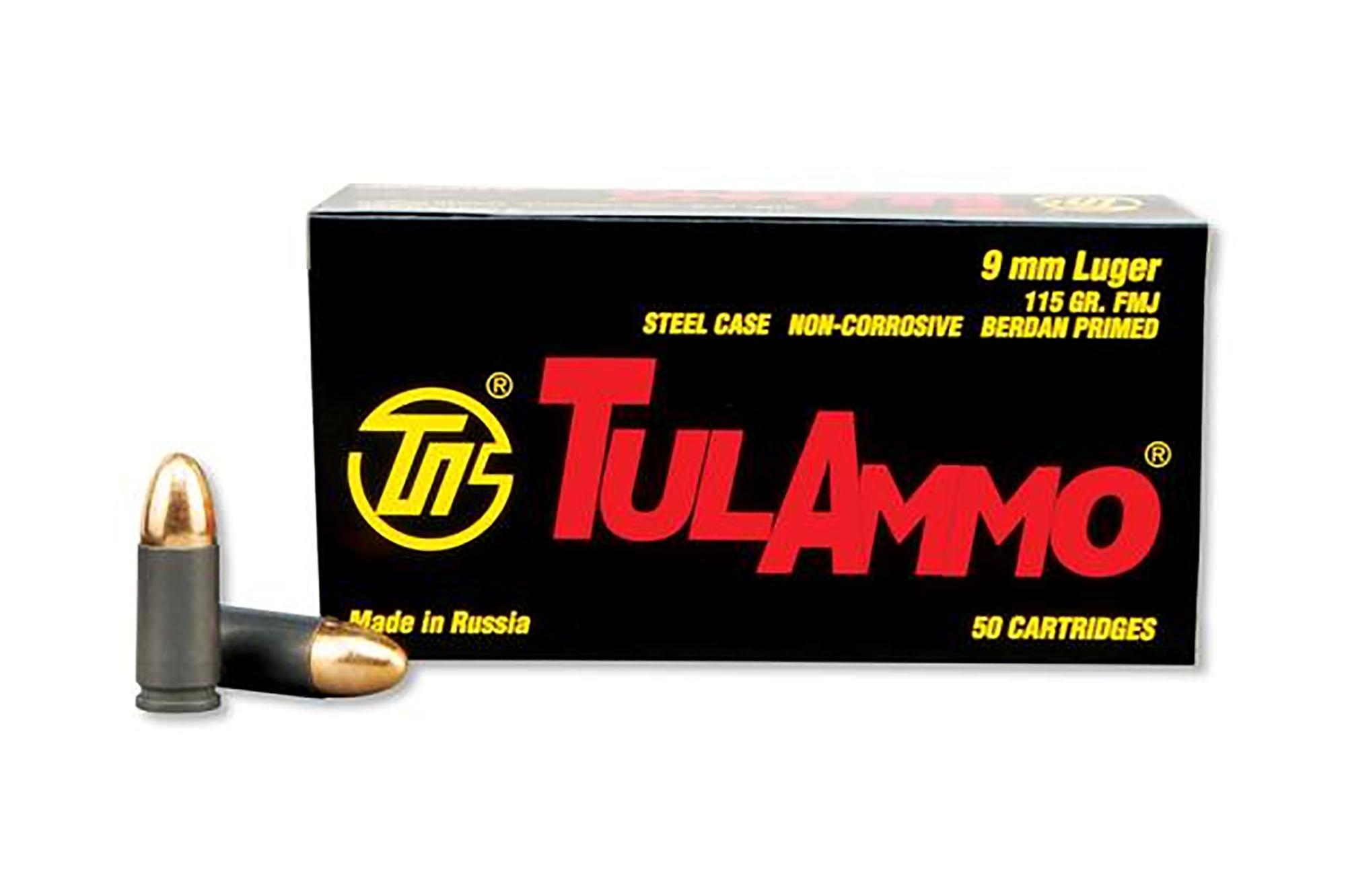 TulAmmo 9mm steel case ammunition comes in a box of 50 rounds