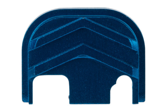Tyrant Designs Glock Slide Cover Plate features a blue anodized finish