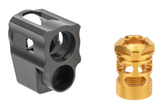 Tyrant Designs Glock 43 T-Comp Compensator features a two piece design and gold finish