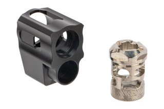 Tyrant Designs G43 Compensator features a two piece design and a nickel finish