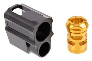 Tyrant Designs P320 Compensator features a gold finish
