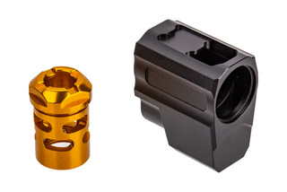 Tyrant Designs SIG P365 Compensator features a gold anodized finish