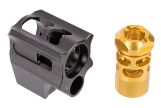 Tyrant Designs Glock Gen 3 Compensator features a black on gold finish