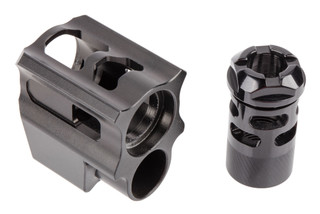 Tyrant Designs Glock Gen 4 Compensator features a two piece design and black finish