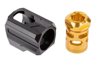 Tyrant Designs 9mm Universal Compensator features a gold finish