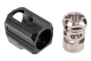 Tyrant Designs Universal Fit 9mm Compensator Uni-Comp features a nickel finish