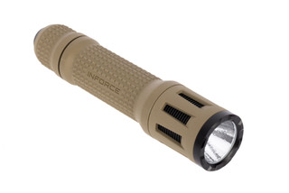 The flat dark earth Inforce TFx tactical flashlight produces up to 700 Lumens on high and 60 Lumens on the low setting