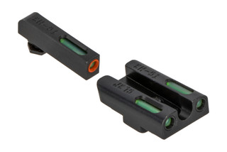 The Truglo TFX Pro Glock 43 and 42 night sight set features green tritium and an orange outline
