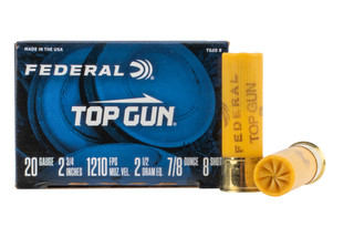 Federal Top Gun 20 Gauge shotshell is loaded with #8 shot