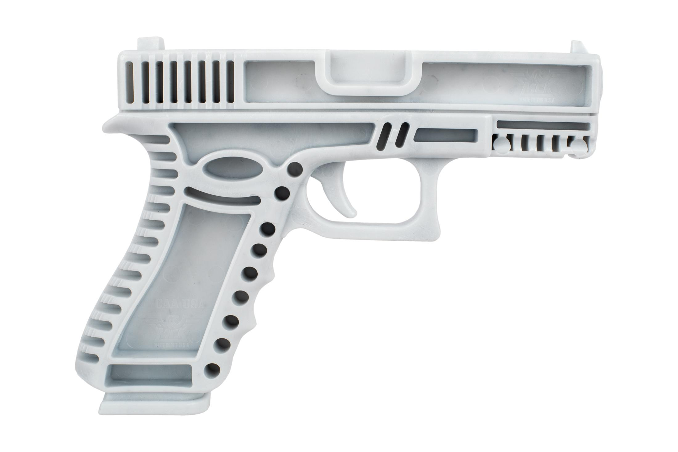 CAA white training handgun is modeled after the highly popular Glock G19 compact handgun for familiar ergonomics.
