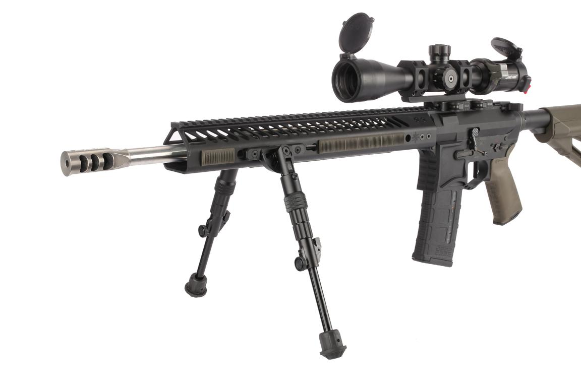 The Leapers UTG Recon Flex Bipod attached to an AR-15 with a KeyMod handguard