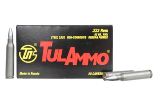 The TulAmmo 223 steel case ammunition features a 55 grain FMJ bullet