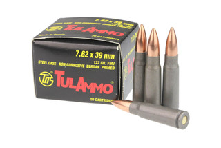 TulAmmo 762x39 steel case ammunition features a 122 grain full metal jacket bullet