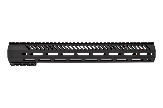 Mission First Tactical M-LOK handguard features a black anodized finish