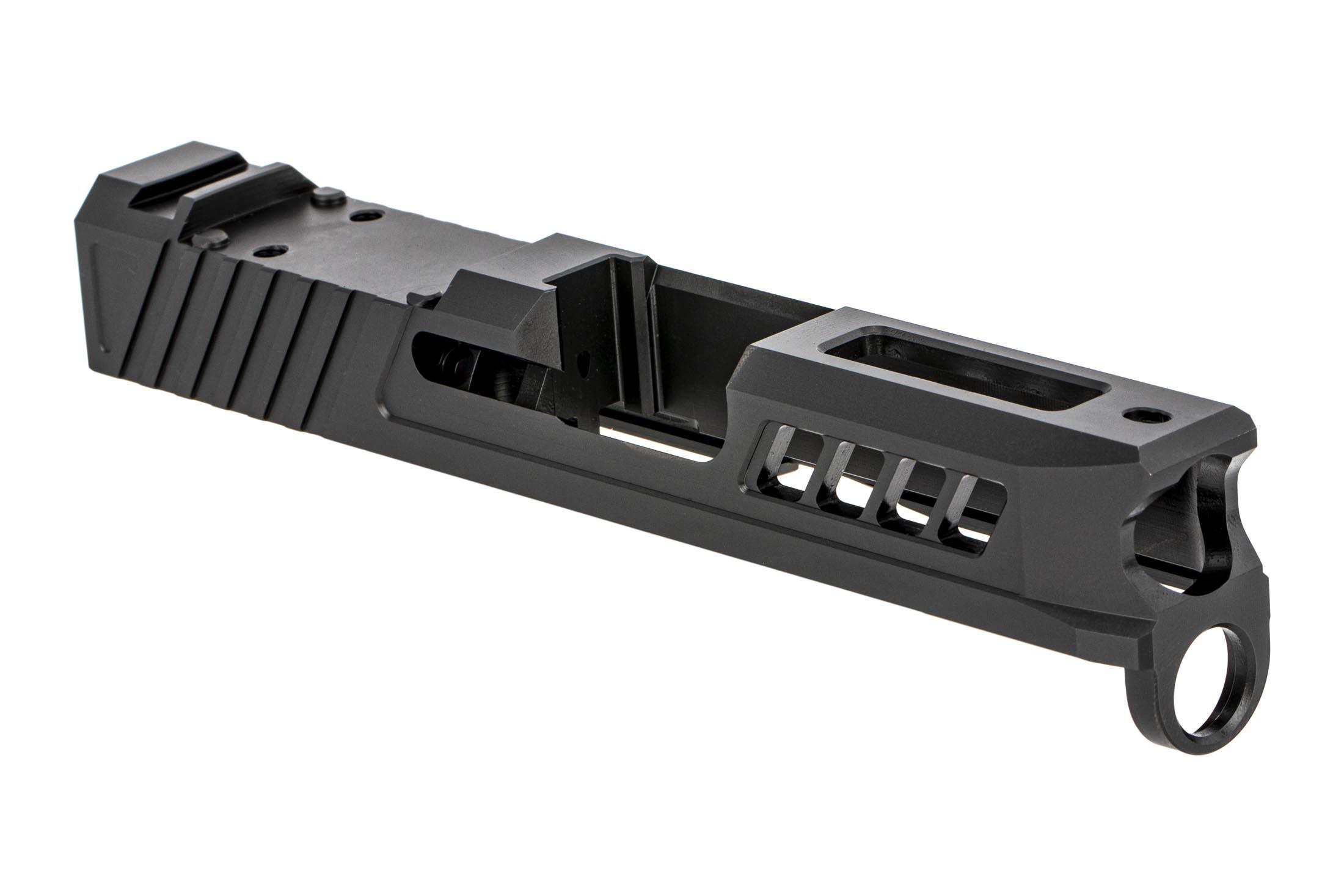 TRUE Precision Glock G43 / G43X slide with DLC Black finish and RMSc cut features scalloped muzzle and angled slide serrations.