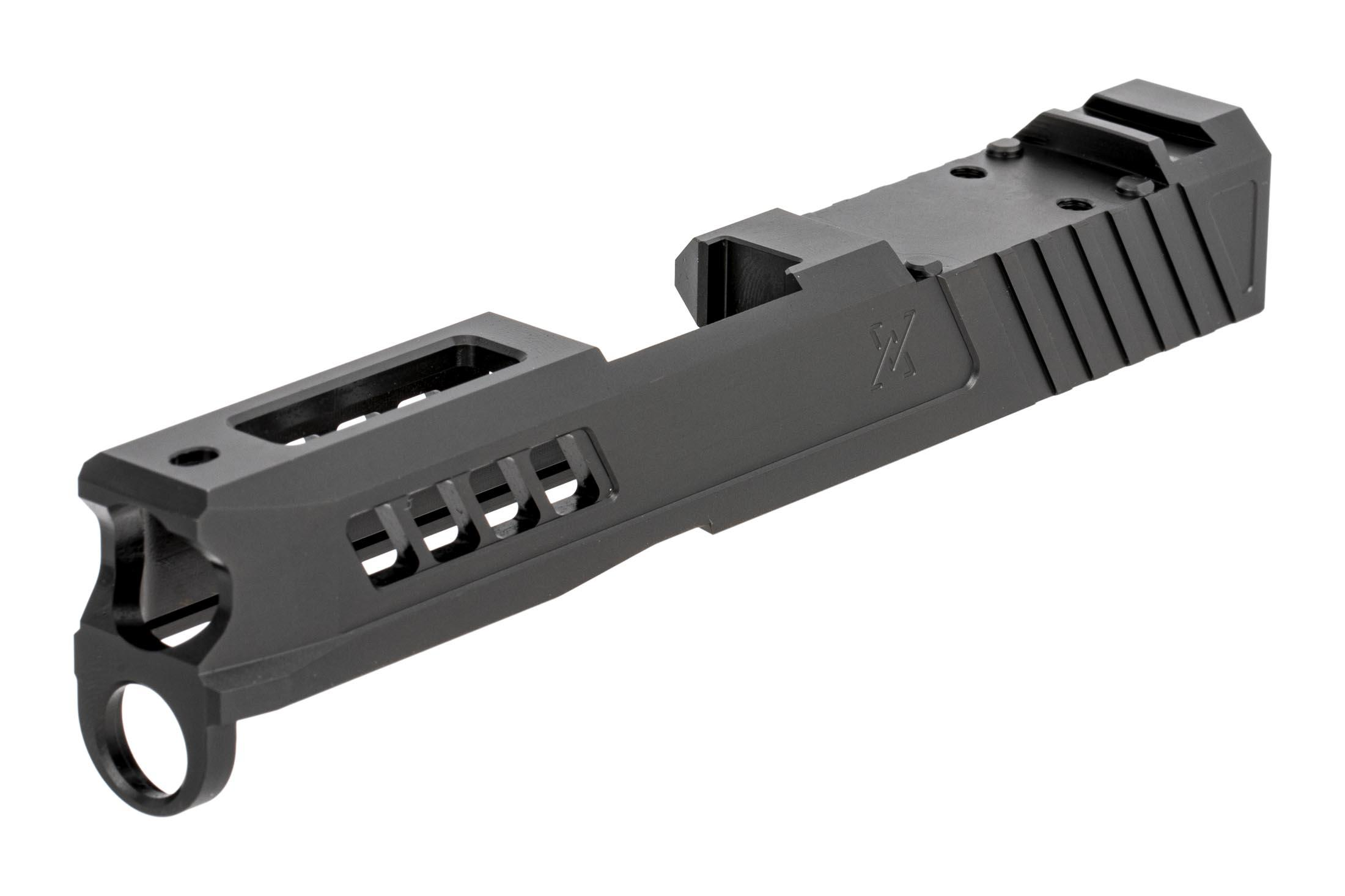TRUE Precision AXIOM stripped 9mm slide for Glock G43 and Glock G43x handguns with black DLC finish