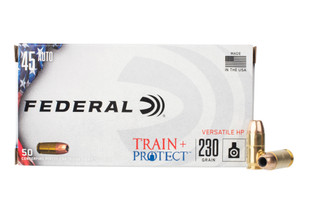 Federal Train and Protect 45 acp ammo features a hollow point bullet