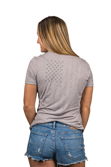Nine Line Apparel pledge t shirt in grey from back