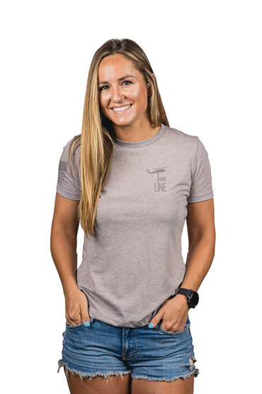 Nine Line Pledge womens shirt in grey from front