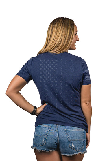 Nine Line Apparel pledge womens relaxed shirt in navy from back