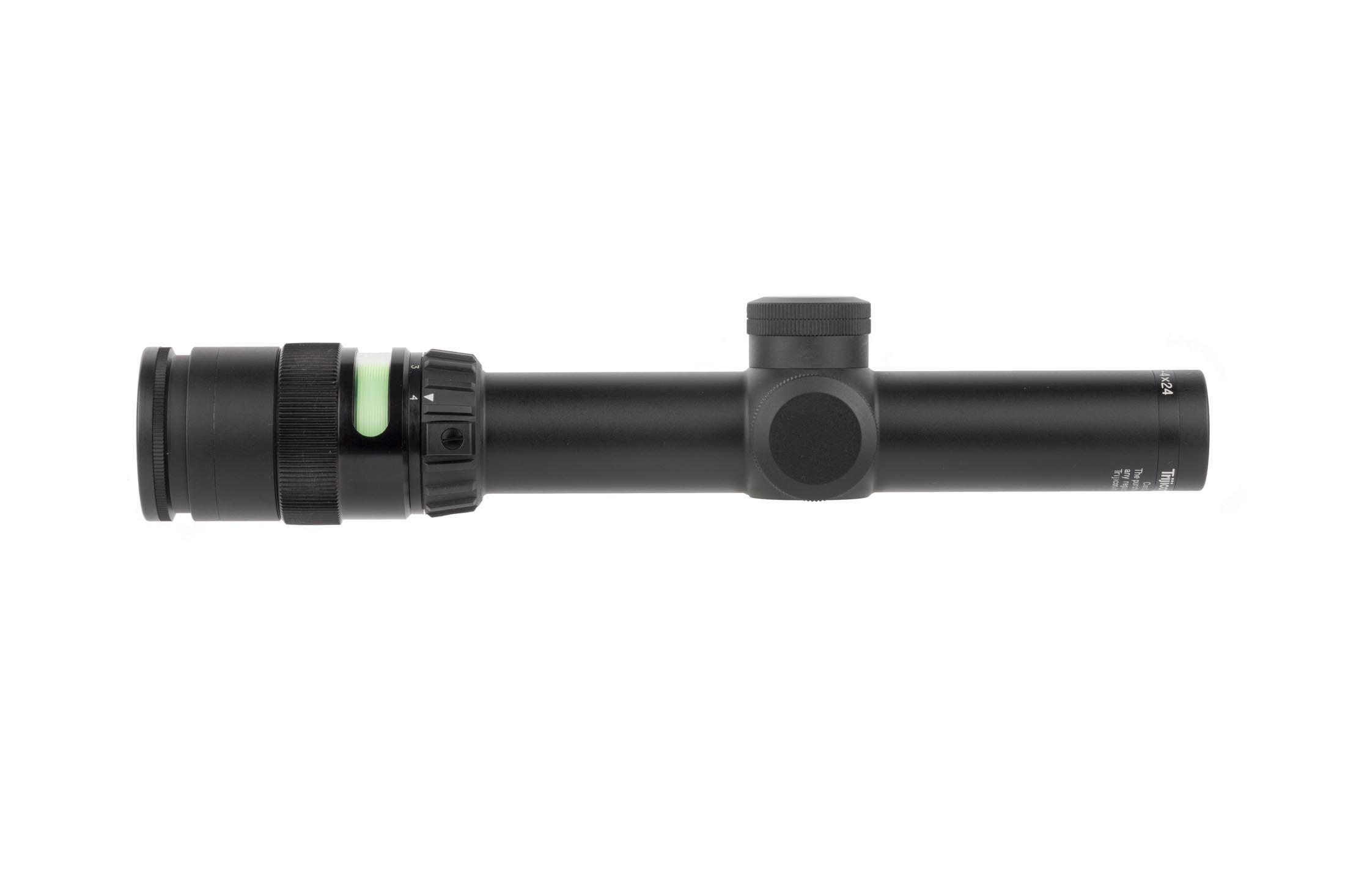 Trijicon TR24 AccuPoint 1-4x24mm rifle scope features battery free Green illumination, triangle post reticle, and 30mm main tube