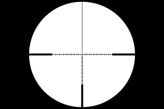 Accupoint 5-20x rifle scope with green dot ranging crosshair reticle features a second focal plane design