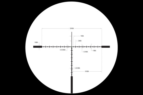 Accupoint 5-20 riflescope with green reticle features MOA ranging markings