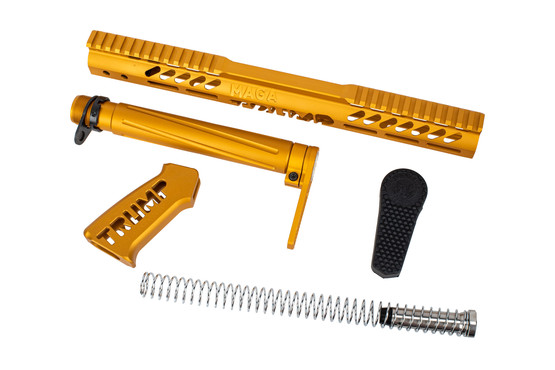 Guntec USA TRUMP complete AR-15 furniture set with gold anodized finish.