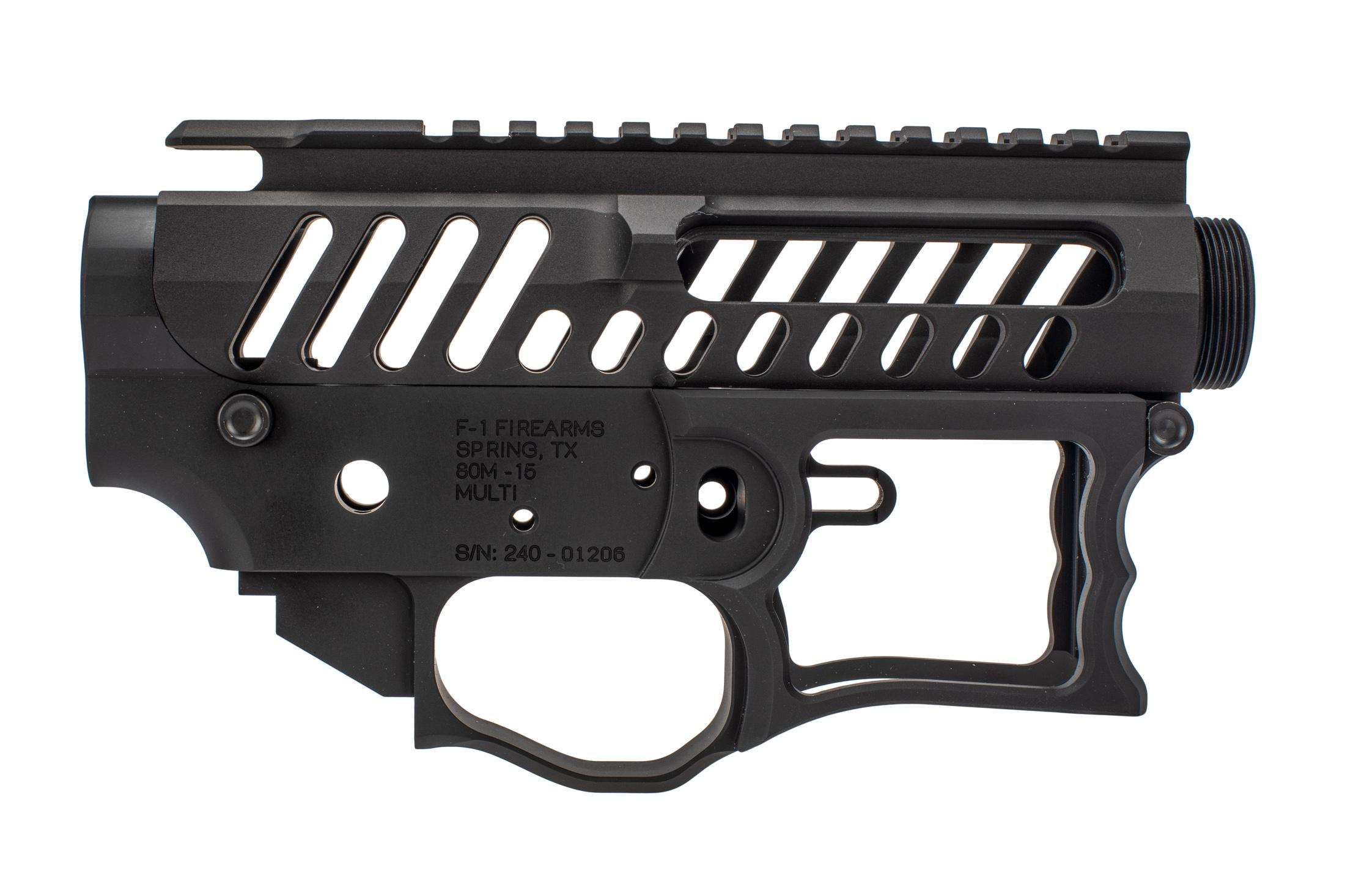F 1Firearms UDR15 Style 1 AR15 receiver set features a fully skeletonized design