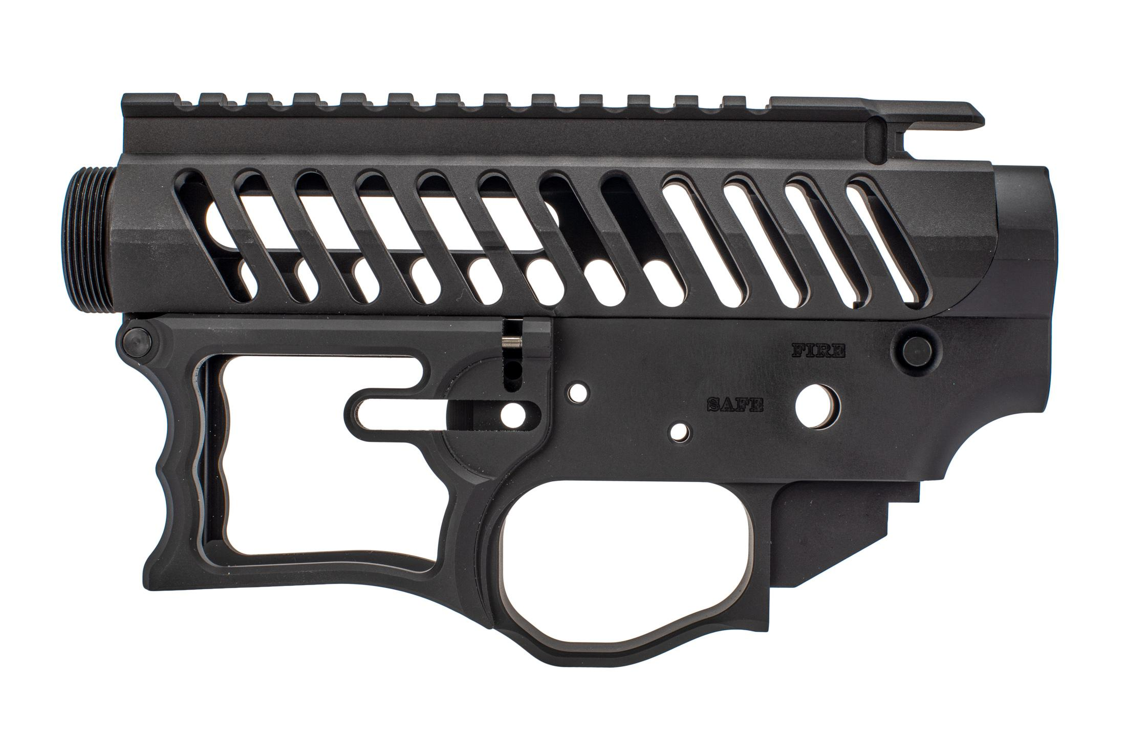 F-1 Firearms Skeletonized receiver set features a beveled magazine well and large trigger guard
