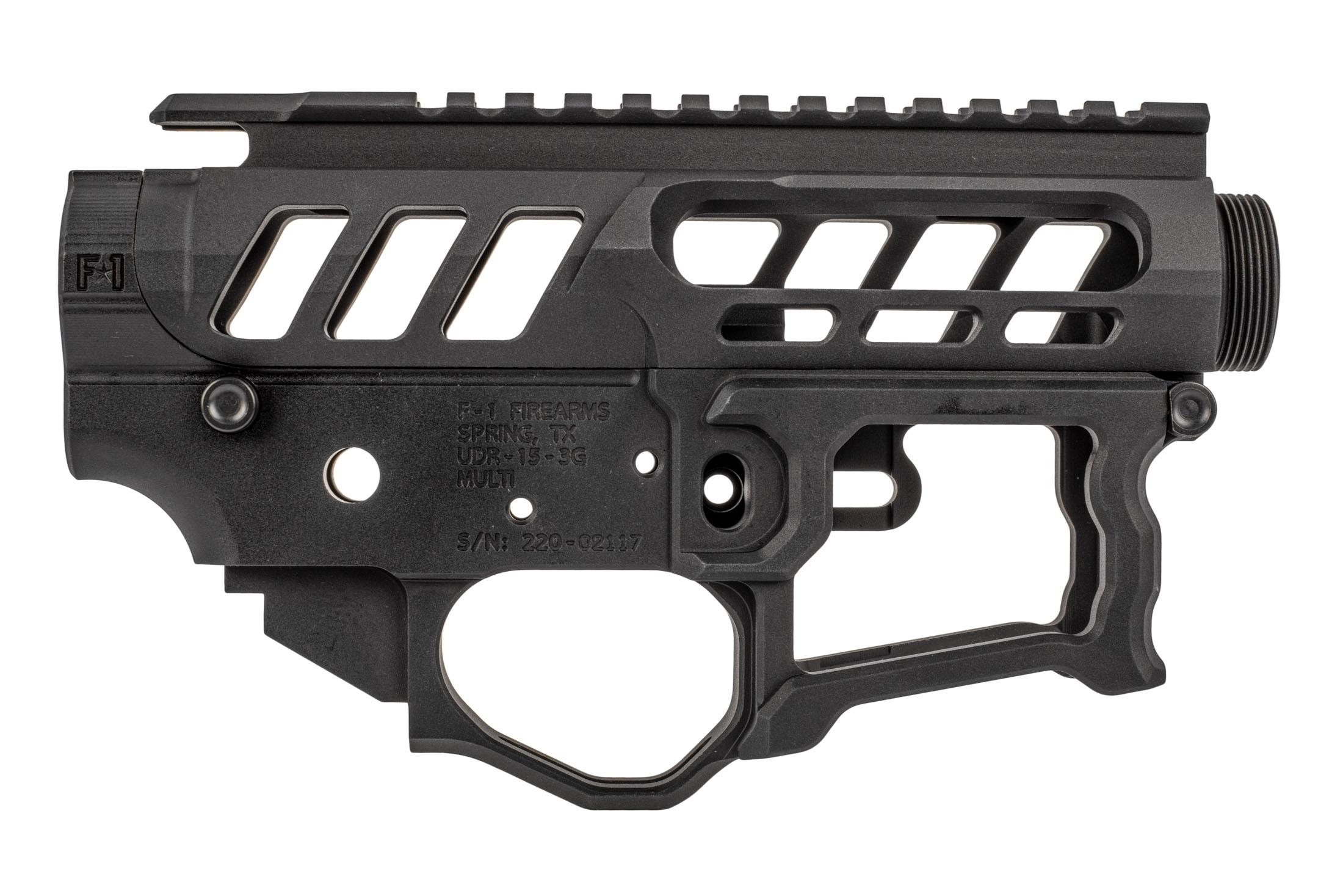 F-1 Firearms UDR-15 3G Style 2 billet AR15 receiver set features a hardcoat anodized finish